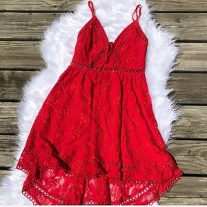 Showpo red lace high low dress